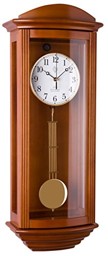 JVD Klassische Wanduhr Pendel Funk Uhr Kirschbaum Westminster Regulateur Funkuhr