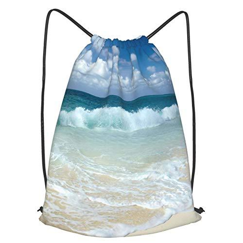 Playa con ondas espumosas en la costa del mar vacía con cordón bolsa de bapa Sport Gym Sapa impermeable hombres mujeres Cincha bolsa para viajes Yoga Playa Escuela