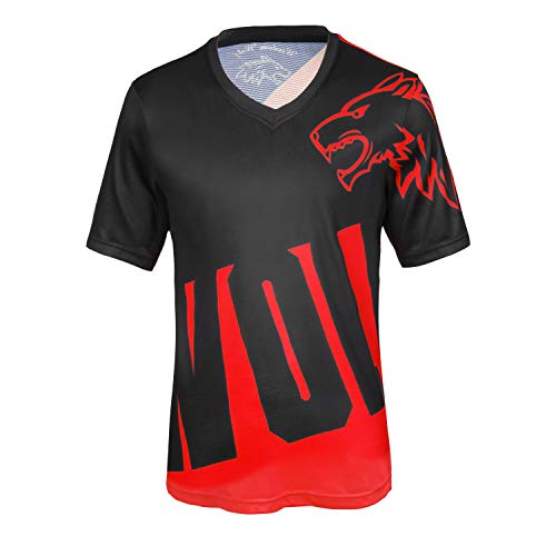 Herren Kurzarm T-Shirt leichte atmungsaktive bequeme Laufsport Radtrikots XL, Schwarz / Rot