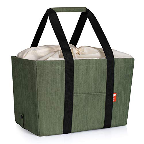 Collapsible Market Basket, Insulated Reusable Grocery Shopping Bags, Picnic bag with shoulder strap, Utility Food Delivery Totes, Durable Polyester Fabric and Upgraded Drawstring Closure. (Green)