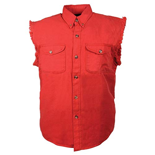 Milwaukee Performance DM4007 Men's Red Lightweight Sleeveless Denim Shirt - Large