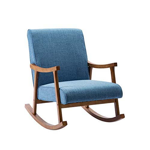Porthos Home Hayes Rocking Accent Chair with Soft, Durable Hemp Fabric Upholstery and Sturdy Rubberwood Legs and Armrests (Nifty Dimensions are Ideal for Home Studios and Small Offices)