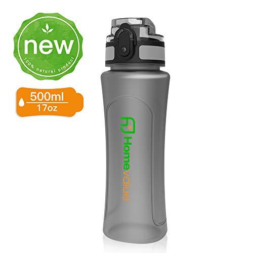 Homevalue Trinkflasche Sport BPA frei Eco Auslaufsichere 500ml/750ml Wasserflasche,für Kinder, Schule, Gym, Fitness, Fahrrad, Outdoor,Camping Freien,Nicht Edelstahl Glas (Grau, 500ml)