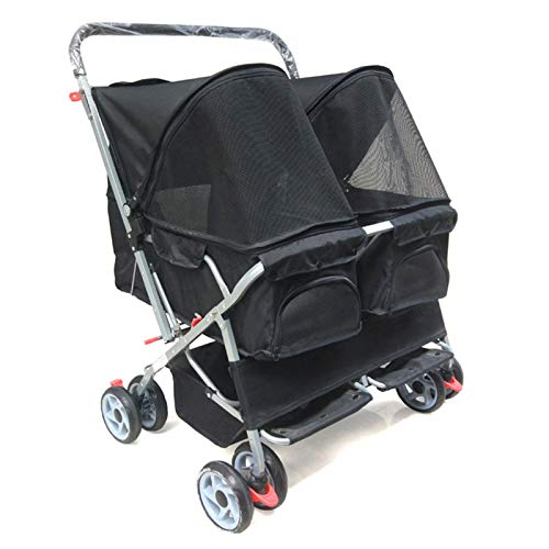 YANGTAO Double Stroller Pet, Travel Stroller Dog Stroller Cat Stroller Jogging Stroller with 4 Wheels Can Be Folded,Black