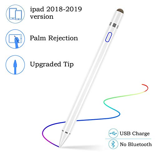 Lápiz Stylus para iPad, Recargable Lápiz óptico Active Point de 1,5 mm Fine Point, Compatible con iPad6, iPad mini 5, iPad Air 3, iPad Pro, iPad Pro 3 para Escritura Precisas / Dibujo / Notas