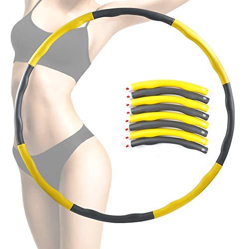 EXTSUD Hula Hoop zur Gewichtsreduktion, Abnehmbar Fitnesskreis Reifen aus Schaumstoff Einstellbar Gymnastik Kreis Hula-Hoop-Reifen für Fitness (Gelb)