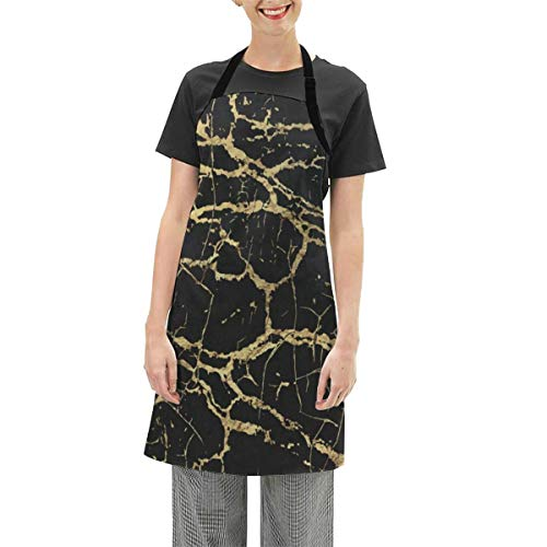Cocoa trade Adjustable Waterproof Apron,Gold Black Marble Morden Cooking Kitchen Aprons for Women Men Chef Large Size 28x26 Inch