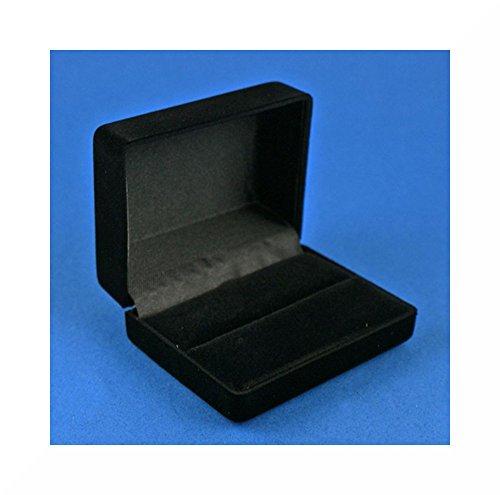 Premium Qualität Manschettenknöpfe Manschette Link Geschenkbox, Schwarz, Samt, Gr. L, schwarz