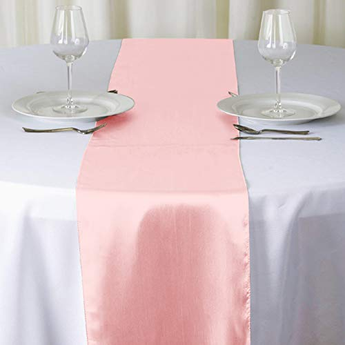 BALIBETOV Pack of 12 Satin Table Runners 12 x 108 inch for Wedding, Reception and Any Party (Peach)