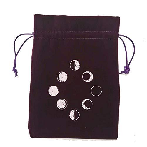 roosteruk Tarot Bag Velvet Tarot Card Storage Bag, Board Game Embroidery Drawstring Bag 13 x 18 cm