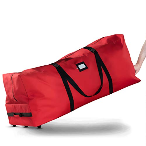 ZOBER Rolling Large Christmas Tree Storage Bag - Fits Upto 9 ft. Artificial Disassembled Trees, Durable Handles & Wheels for Easy Carrying and Transport - Tear Proof 600D Oxford Duffle Bag - Red