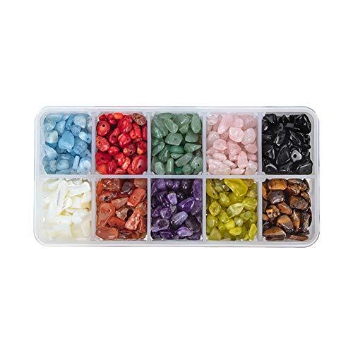 Pandahall Elite - 1Caja de 50 g–Abalorios de cristal de cuarzo de amatista y aguamarina, mezcla de colores, cuentas sin agujero 7,5~ 13x 5~ 7x 3~ 4mm, Mixed Color-8, 5~8x5~8mm