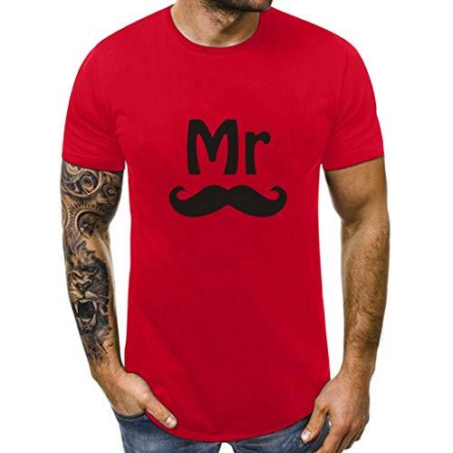 Dasongff Partner-shirt voor dames en heren, Mr Mrs, partner-look, set T-shirts voor koppels als geschenk XX-Large rood/heren.