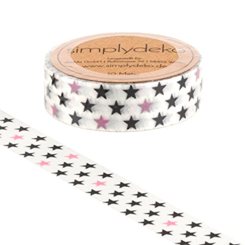 Simplydeko Washi Tape - Masking Tape Sterne - Wundervolles Washitape Bastel-Klebeband aus Reispapier - Tanzende Sterne