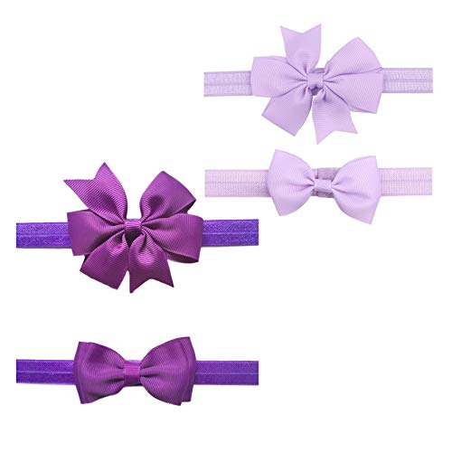 2pc/Set Baby Girls Grosgrain Ribbon Hairband Set Ribbon Bows Hair Tie Headband JB10 (Purple-Lavender)