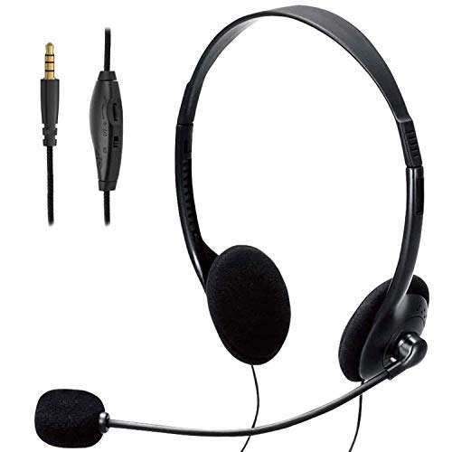 TINGDA Headset mit Mikrofon, PC Kopfhörer 3,5mm mit Noise Cancelling & Lautstärkeregler, Computer Chat Headset für Skype, Webinar, Homeoffice, Gaming, e-Learning und Musik, Call Control, Ultra Komfort