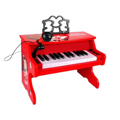 LIUFS-El teclado Piano Juguete Niños Principiante Teclado multifunción Hogar Chica Rojo Dibujos animados (color : Red)