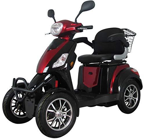 Scooter eléctrico de movilidad todo terreno extra estabilidad 4 ruedas motor 800 watt 25 km/h 60V 100AH incluye accesorios Rojo Green Power