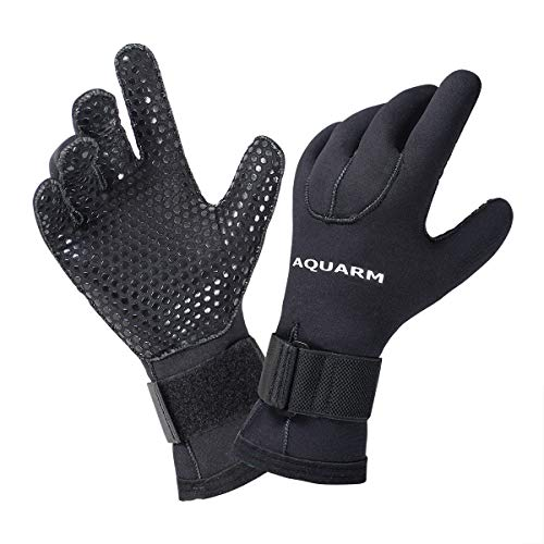 AQUARM Premium Diving Gloves - 3mm Neoprene Scuba Dive Gloves with Elastic Wrist Band and Skid Resistance Particles, Perfect Base Gloves for Men and Women (XXL)
