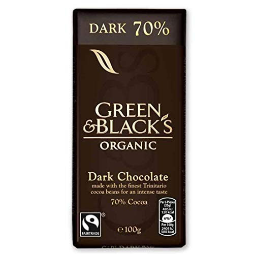 Green & Black's Organic 70 Percent Dark Chocolate Bar, 90 g, Pack of 5