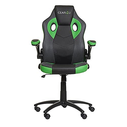 Gear4U Gambit Pro G4U-Gambit-PRO-BK-GRN - Sedia da gaming, colore: Nero/Verde