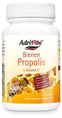 Propolis Extrakt 4:1 von AdriVital I 60 Stück Propolis Kapseln mit Vitamin C I Bienen-Kittharz Nahrungsergänzungsmittel Bienenharz Bienen Propolis I glutenfrei laktosefrei fructosefrei