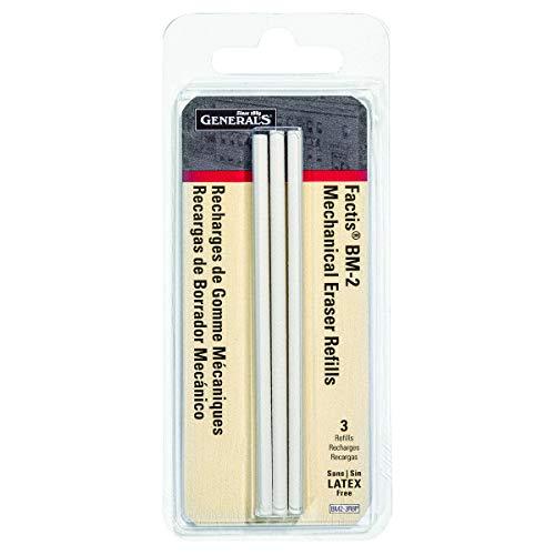 General Pencil GPBM2-3RBP Recambios de Goma de borrar Estilo bolígrafo Factis, 3 Unidades, White, Pack of 1