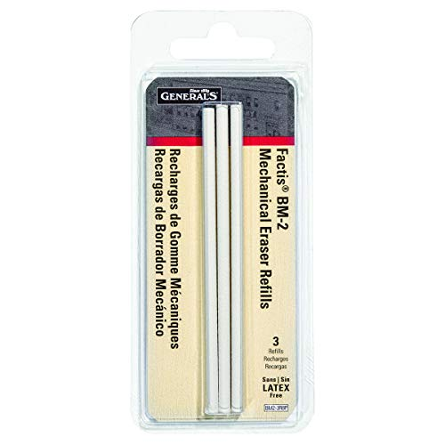 General Pencil CO. GPBM2-3RBP Factis Pen Style Eraser Refills 3Pcs Carded