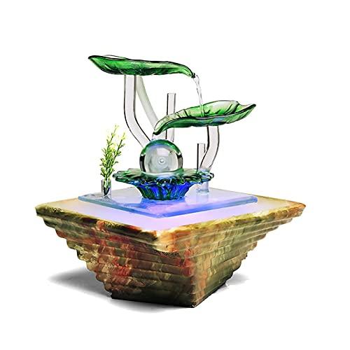 Fuentes de interior Fuente de mesa interior (con cambio de color) Fuente de agua de escritorio trapezoides Pequeña relajación Cascada Funcion para Decoración del hogar Fuente de agua de mesa interior