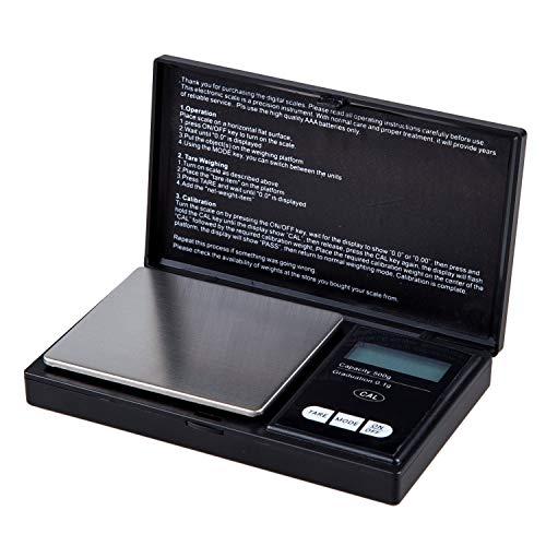 DealMux balanza digital de bolsillo 500 gx 0,1 g para productos químicos de laboratorio, joyas, diamantes, piedras preciosas, oro, plata, monedas, especias, pólvora, sobres, alimentos, nutrici