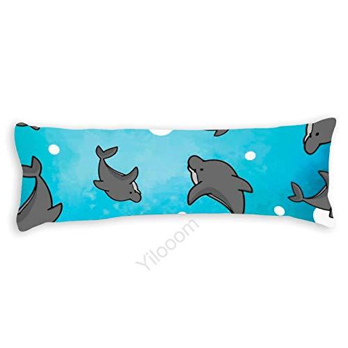 Funda de almohada para el cuerpo, funda de almohada protectora de almohada con cierre de cremallera para decoración del hogar, 50 x 130 cm, delfín