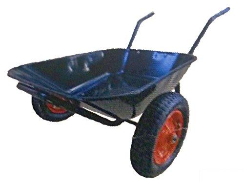 手押し 低床 二輪車 バケット 付 WD4510 農業用 園芸用 飼料用 鉄製 エアータイヤ (一輪車 タイプの 二輪車) ネコ シNT