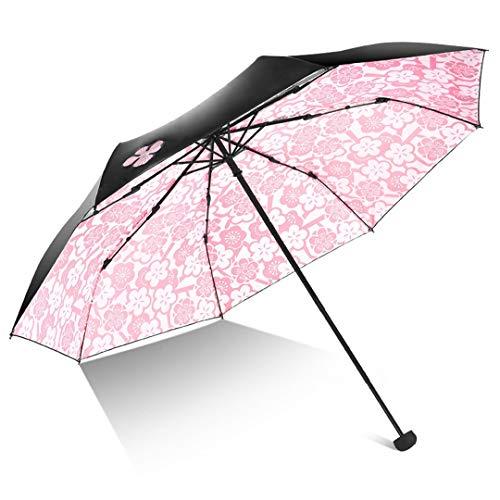 Paraguas de mujer para niña, anti-UV, plegable, diseño de flores modish, a prueba de viento, color negro