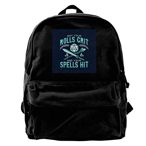 maichengxuan Leinwand Rucksack May Your Rolls Crit and Your Spells Hit Rucksack Gym Hiking Laptop Umhängetasche Daypack Tagesrucksack für Männer Frauen