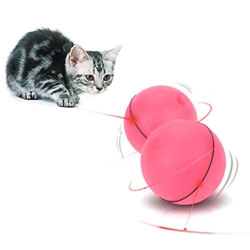 KatzenSpielzeug,Dairyshop Lustige Haustier Hund Katze LED Licht Magic Ball Teaser Übung interaktive automatische Spielzeug... (rot)