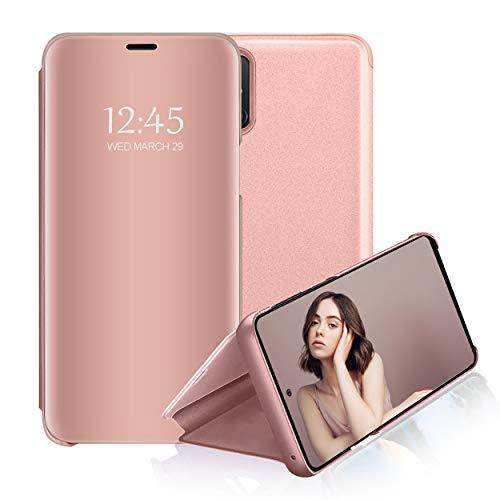 Hülle Kompatibel mit Samsung Galaxy A51 Handyhülle Leder PU+PC Spiegel Clear View Schale Flip Case 360 Grad Stoßfest Schutzhülle Etui mit Standfunktion für Galaxy A51 Cover