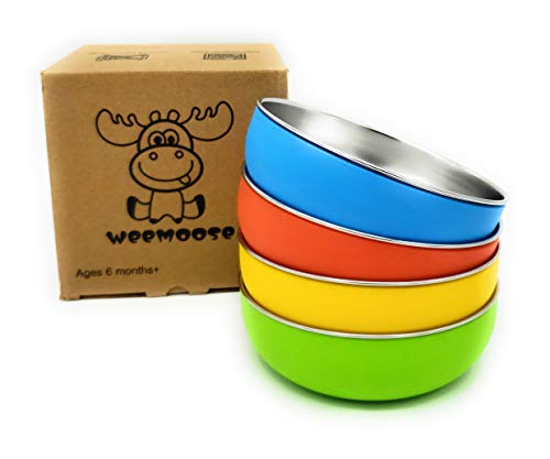 WeeMoose Premium 304 Stainless Steel Baby Bowls with Removable Silicone Shell | Set of 4 Bowls | Toddler Food Bowls Snack Container