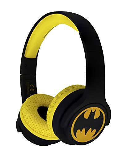 OTL Technologies Casque audio Bluetooth JUNIOR pour enfants Batman (arceau rembourré, volume limité à 85 dB, design coloré, mixte), Jaune/Noir