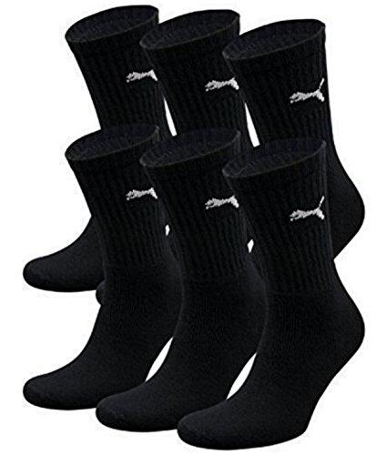 6 Paar PUMA Unisex Crew Socks Socken Sportsocken MIT FROTTEESOHLE (43-46, Schwarz)