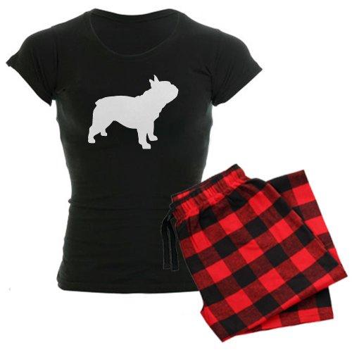 CafePress, Damen-Pyjama-Set, Fanzösiche-Bulldogge-Motiv, bequem  Gr. XL, With Red Plaid Pant