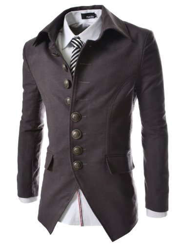 TheLees 737 Mens Luxury Unique Style Slim fit 8 Button Front Blazer Jacket Charcoal US M(Tag Size XL)