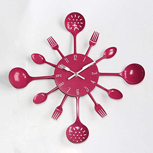 ZHUAN Fashion Kitchen Head Wall Clock,Kitchen Colorful Metal Knife Fork Wall Clock,Creative Iving Room Mute Clocks Rose Red 40cm(16inch)
