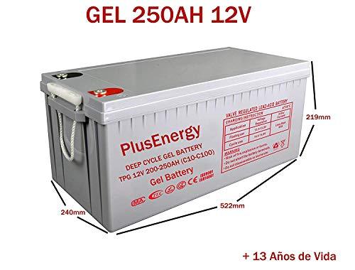 PlusEnergy zonne-accu, 12 V, lage cyclus, AGM 150 Ah, 250 Ah, gel, 150 Ah, 250 Ah, zonne-fotovoltaïsche met terminals, 250A GEL