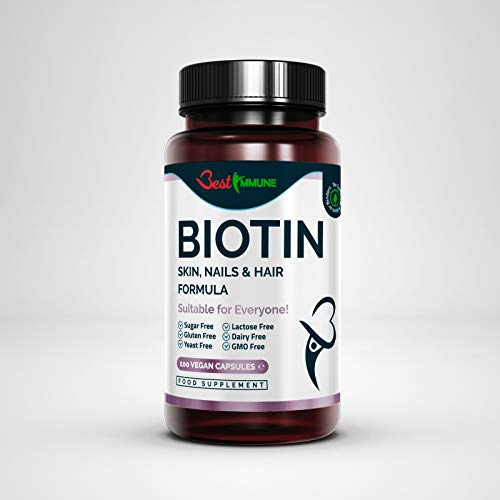 Biotin Skin Nails and Hair Formula Premium Quality Natural Product Ideal Strength 100 Vegan Capsules Highest Bioavailability