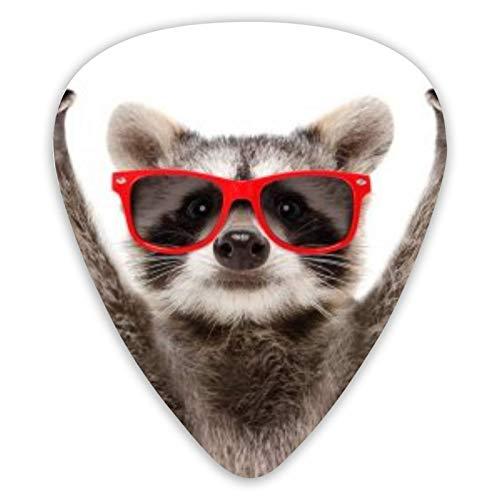 Gitarren-Picks-Porträt des lustigen Waschbären in der roten Sonnenbrille, die Rock-Geste zeigt, die auf weißem Hintergrund isoliert wird Premium-Picks-Sampler Einzigartiges Gitarrengeschenk (12 Count)