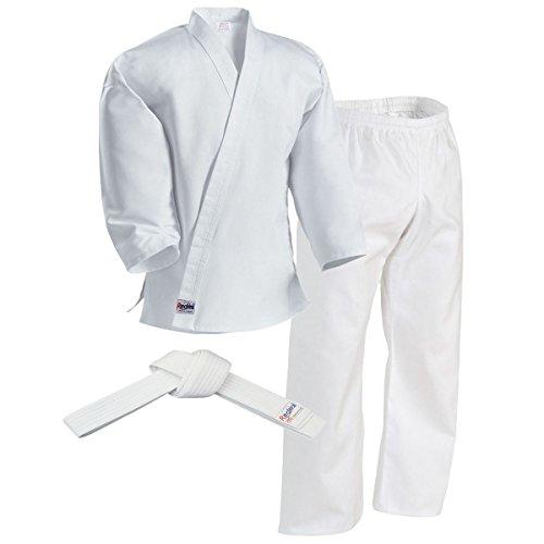Redox Karate gi, Martial Arts Uniform for Adult, Child for Training, Middleweight/Size 0000~7, Elastic Waistband Pant & White Belt (White, 0000/100)