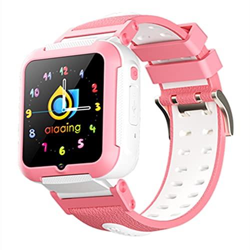 HQPCAHL GPS Reloj Inteligente Niña Impermeable Smartwatch Localizador GPS Niños Pulsera Inteligente Reloj Inteligente Regalo, con Llamada Telefónica SOS Despertador GPS Tracker Podómetro,Blanco
