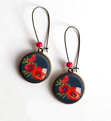 Pendientes de cabujón, amapolas, rojo, negro, bronce, hecho a mano, joyas de mujer