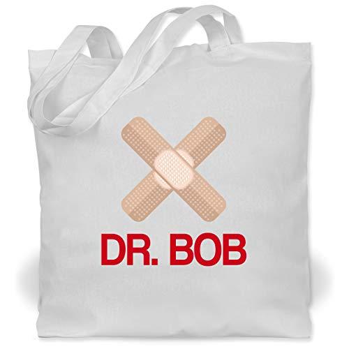 Shirtracer Karneval & Fasching - Dr. Bob Kostüm Pflaster - Unisize - Weiß - Statement - WM101 - Stoffbeutel aus Baumwolle Jutebeutel lange Henkel