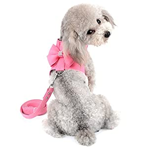 SELMAI Small Pet Dog Cat Bling Rhinestone Harness and Leash Set Bow Girls Soft Ultra Suede Leather, Adjustable/No Pull Pink S